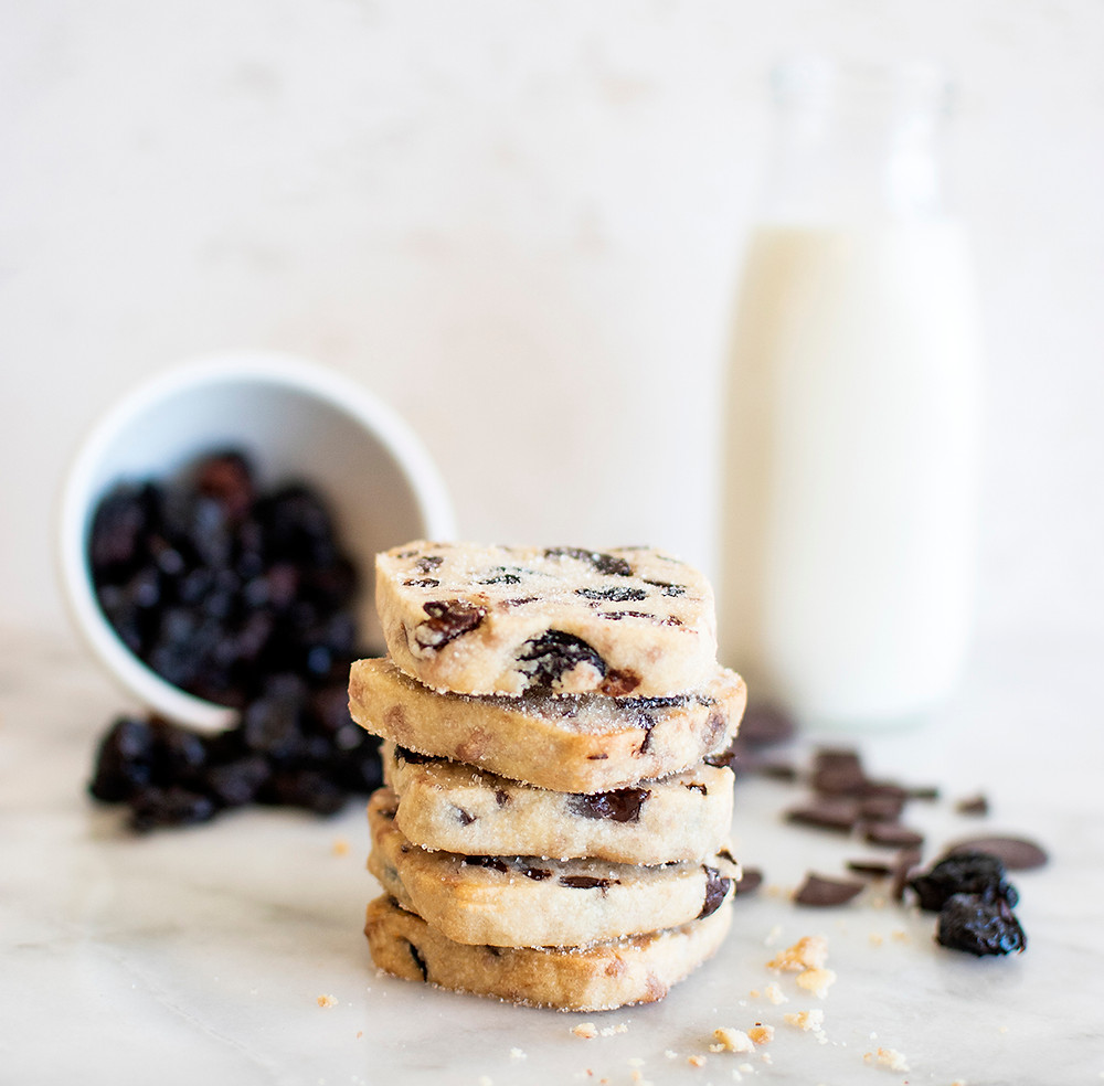 Tower of Dark Chocolate Cherry Shortbread Cookies
