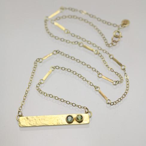 Custom Hammered Bar Mother's Necklace