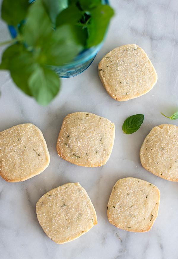 Top view of Orange Mint Shortbread Cookies