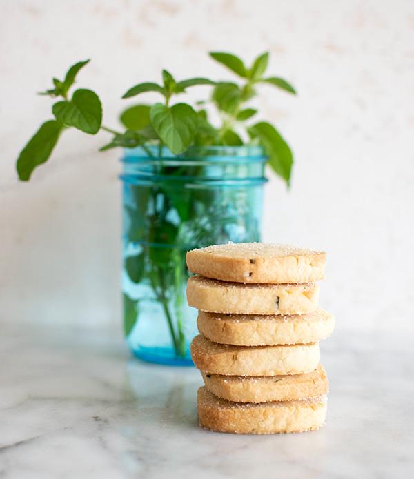 Tower of Orange Mint Shortbread Cookies