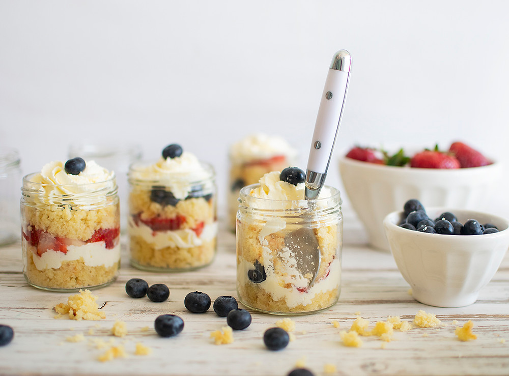 Eating Summer Cake in a Jar topped with cherry
