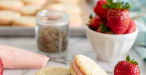 Strawberry Basil Sandwich Cookies