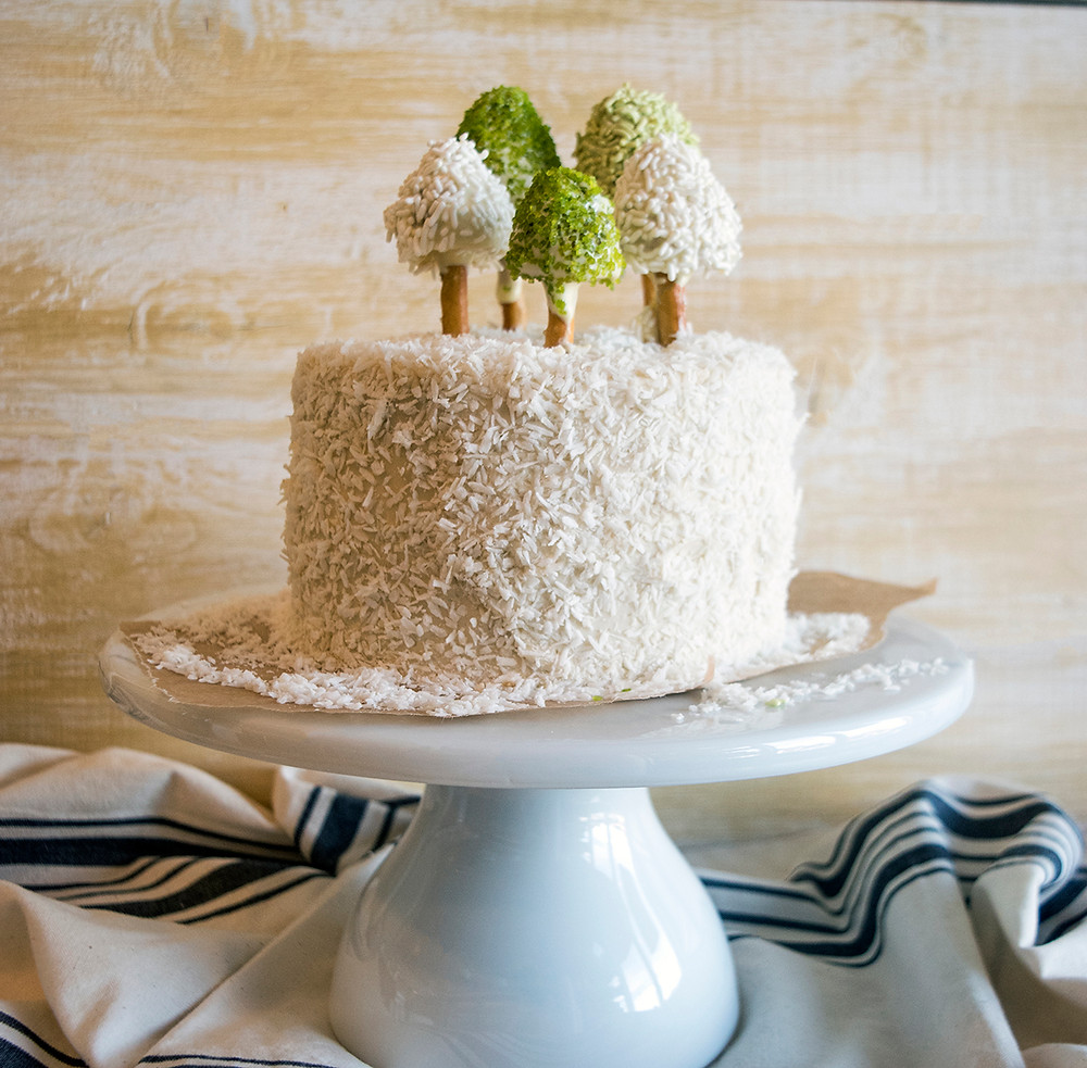Christmas Tree Cake on a cake stand