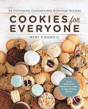 Cover of Cookies for Everyone cookbook with different types of cookies everywhere