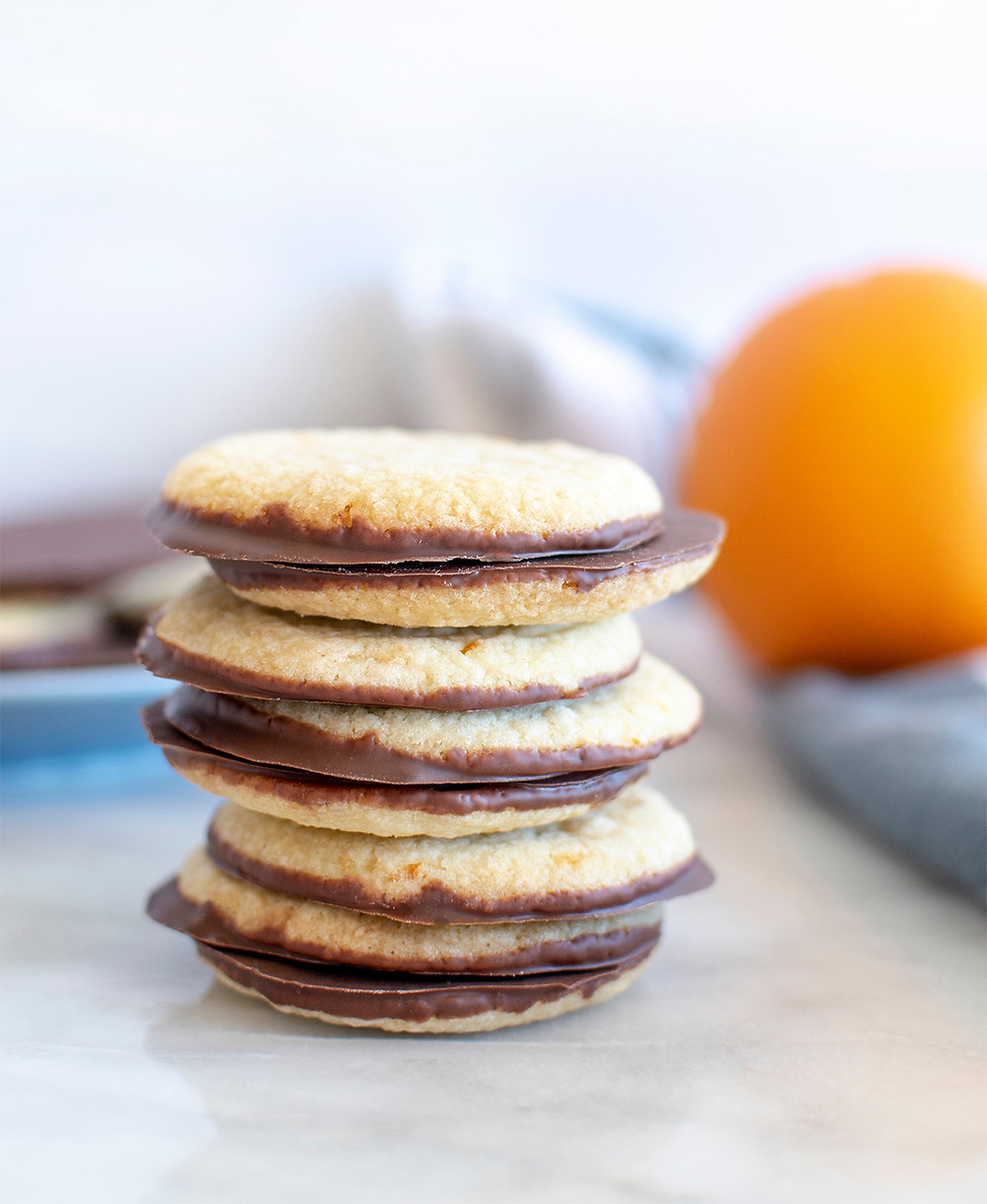 Tower of Milk Chocolate Orange Shortbread Cookies