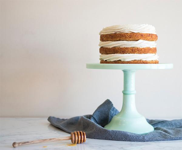 Honey Apple Carrot Cake on cake stand