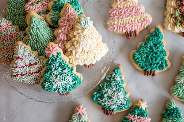 Tree Sugar Cookies Served in a plate