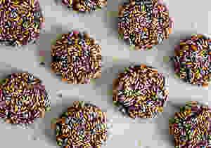 Top view of Sprinkled Chocolate Sugar Cookies