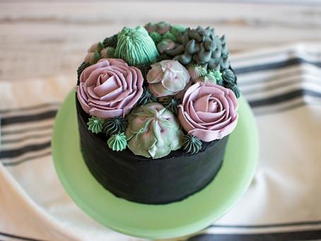 Black Succulent Cake Tutorial