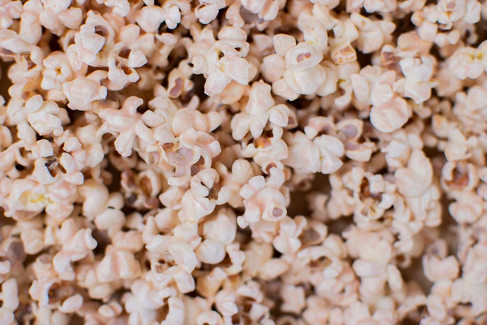 Top view of Pink Himalayan Sea Salt White Chocolate Popcorn