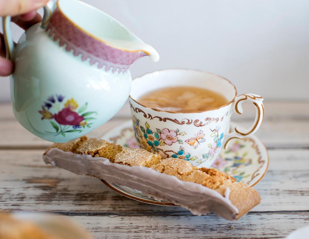 Serving tea with Honey Lavender Lemon Biscotti