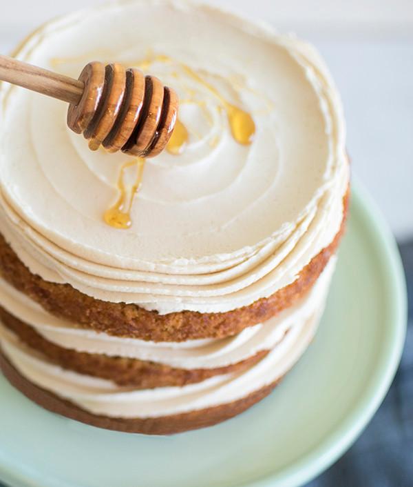 Topping honey on Honey Apple Carrot Cake