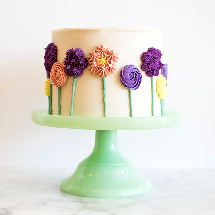 Side view of Flower Cake on stand