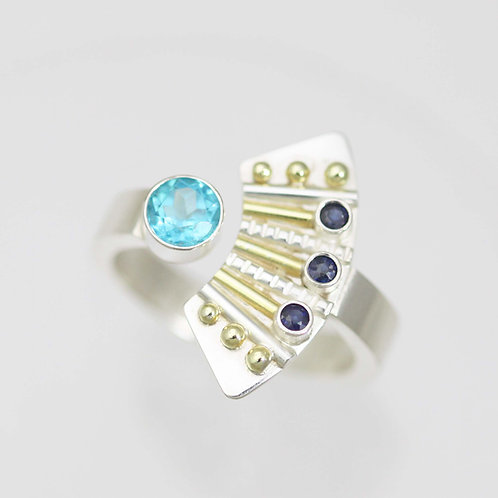 Striped Totem Split Ring with Paraiba Apatite in Sterling Silver and 14ky Gold