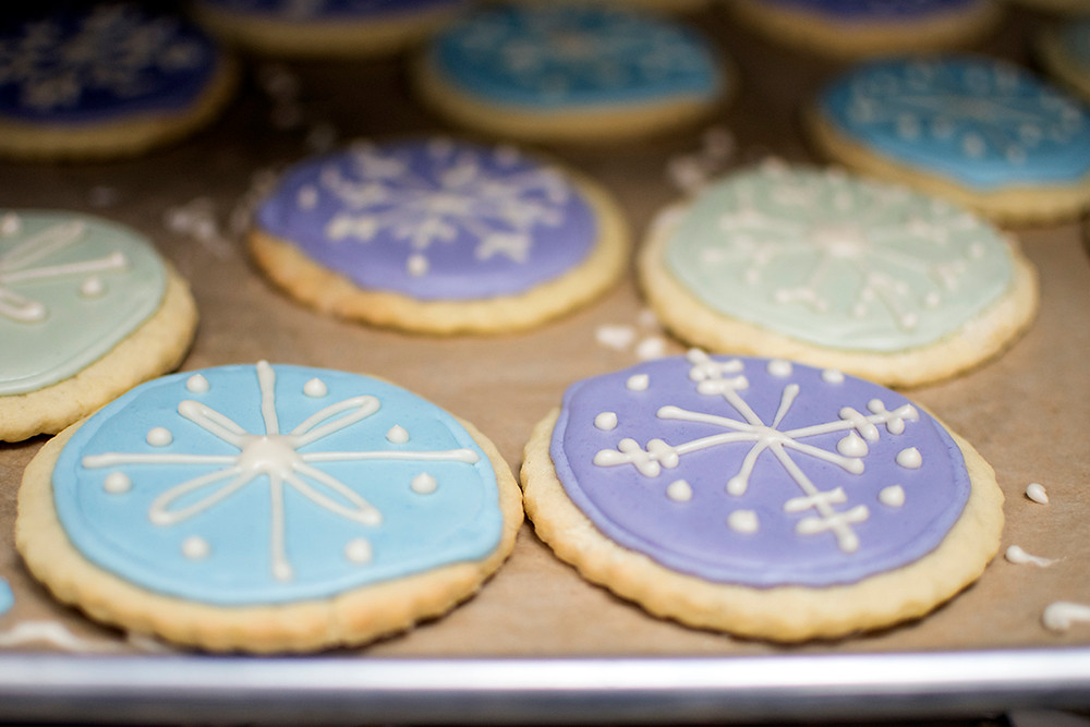 Lemon Ginger Pastel Snowflake Cookies