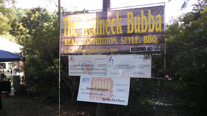 Redneck Bubba signs, checks