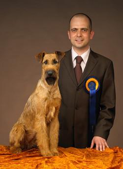 Irish Terrier Hündin Caramel's Atomic Amy gewinnt den Titel Europasieger