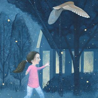 Girl, Owl and Fireflies