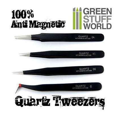 100% Anti-magnetic QUARTZ Tweezers SET