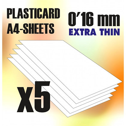 ABS Plasticard A4 - 0,16mm COMBOx5 sheets