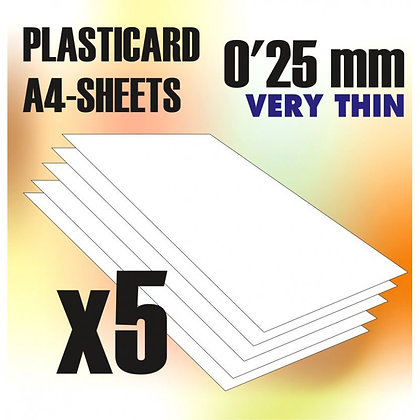 ABS Plasticard A4 - 0,25 mm COMBOx5 sheets