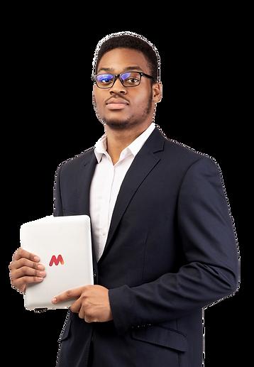 handsome-black-man-holding-tablet-on-whi