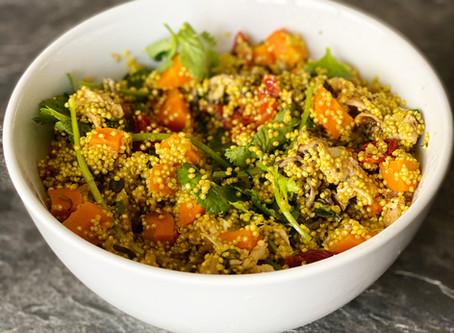 Salada de quinoa com cogumelos