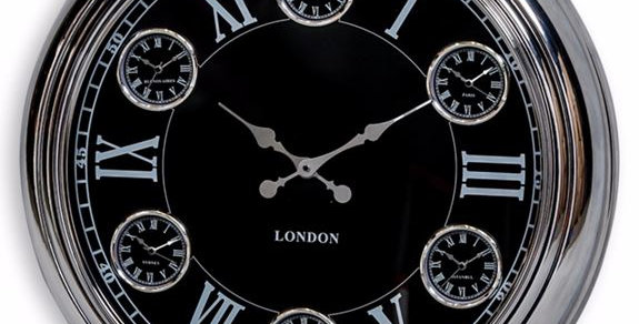 MULTI DIAL LARGE CHROME WITH BLACK FACE WALL CLOCK