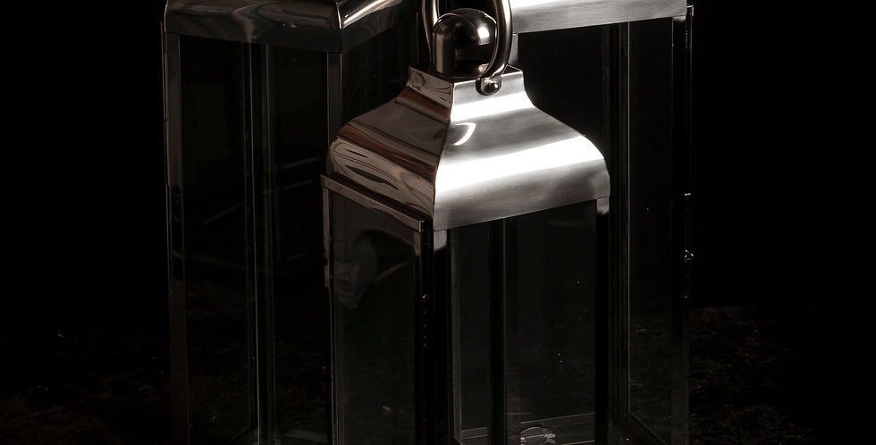 SMALL POLISHED STEEL AND GLASS LANTERN