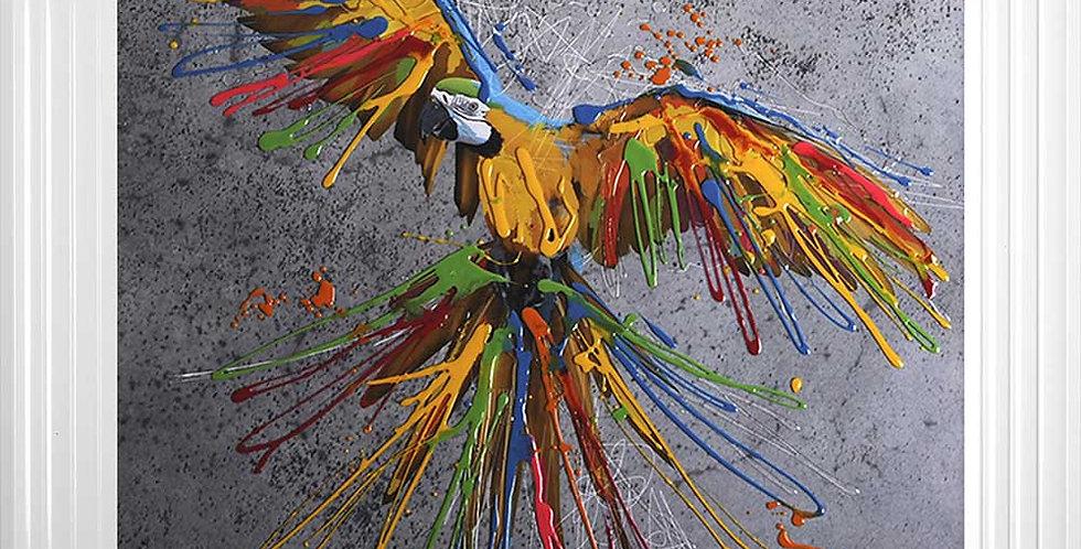 Yellow Parrot in Flight