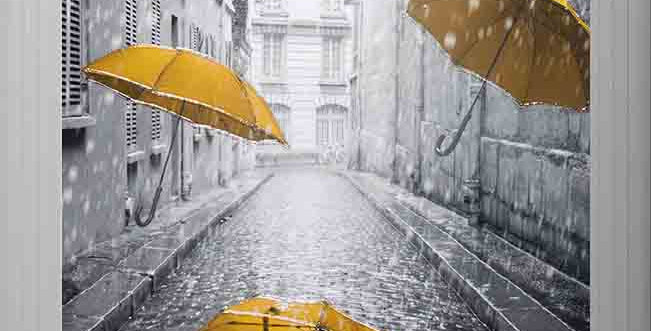 Yellow umbrellas in Rome