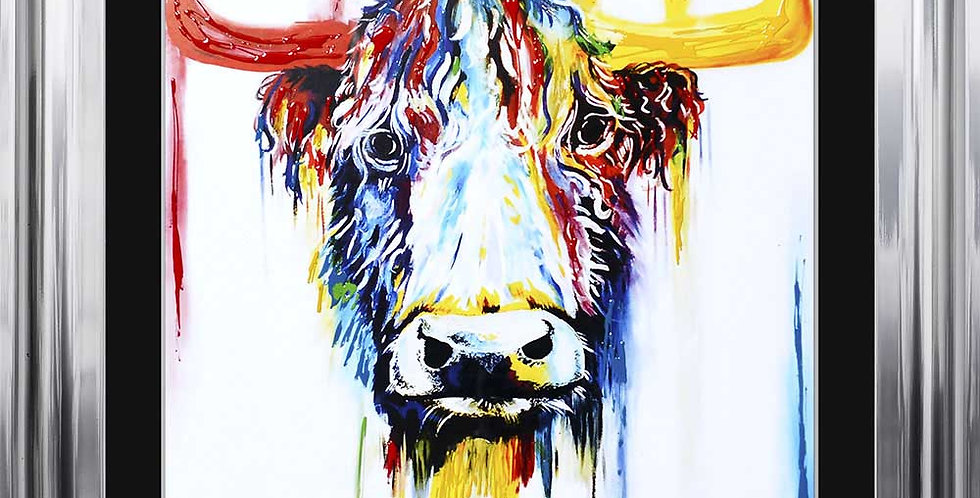 Cow Head in bright primary colours