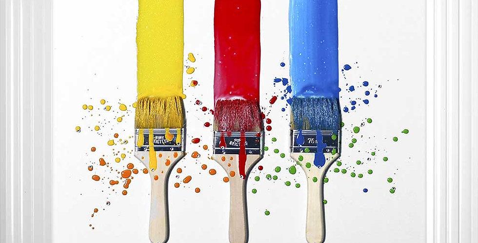 Paint Brush liquid art on White