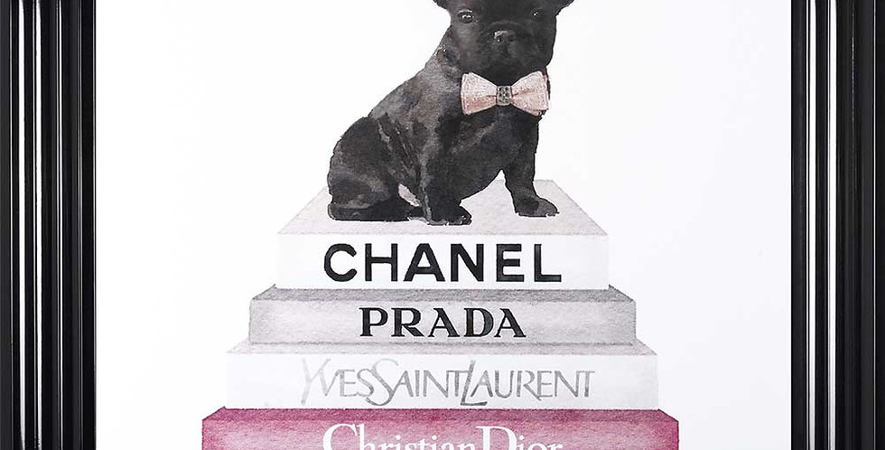 Chanel books and Frenchie pink