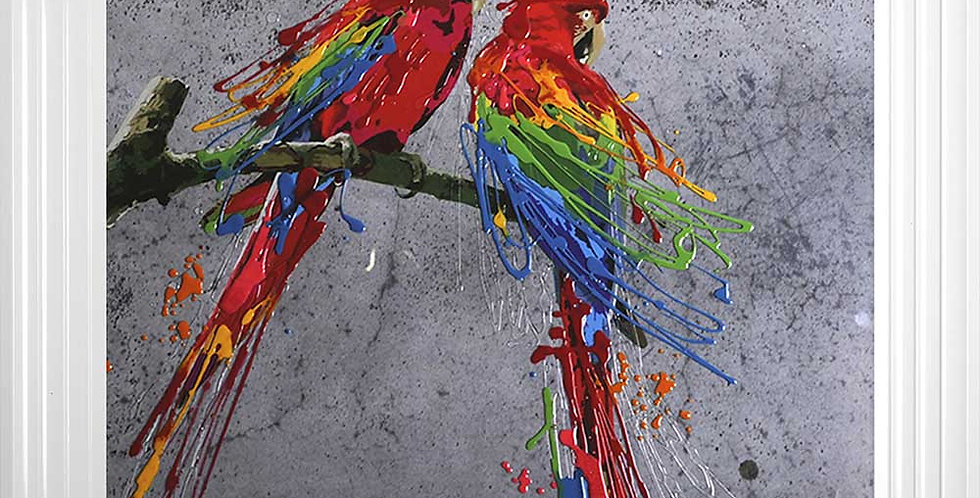 Red Parrots in Love