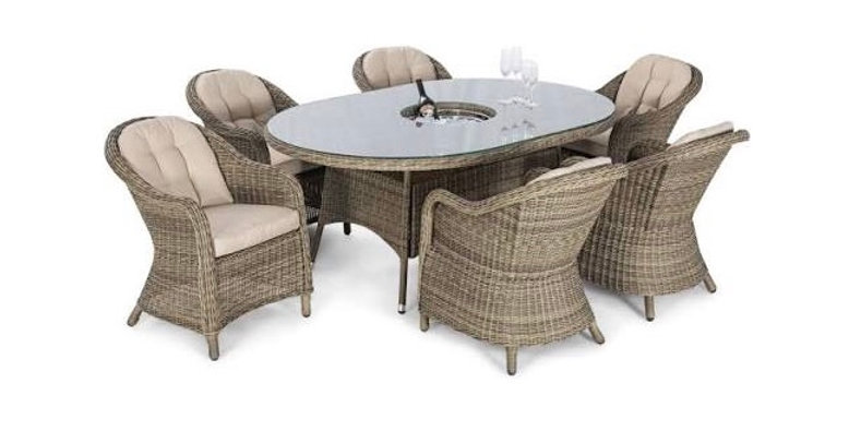 Winchester 6 Seat Oval Ice Bucket Dining Set with Rounded Chairs and Lazy Susan