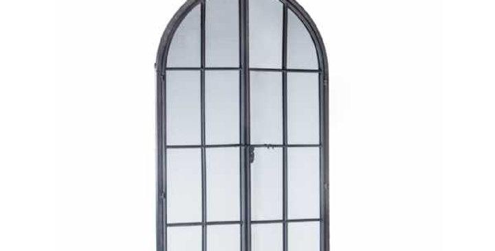 Antiqued Lead Grey Iron Large Arch Window Metal Mirror