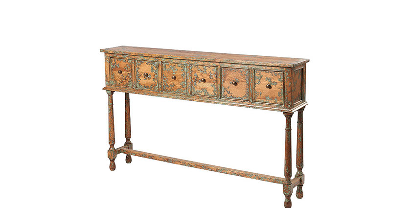 6 drawer Oak console table
