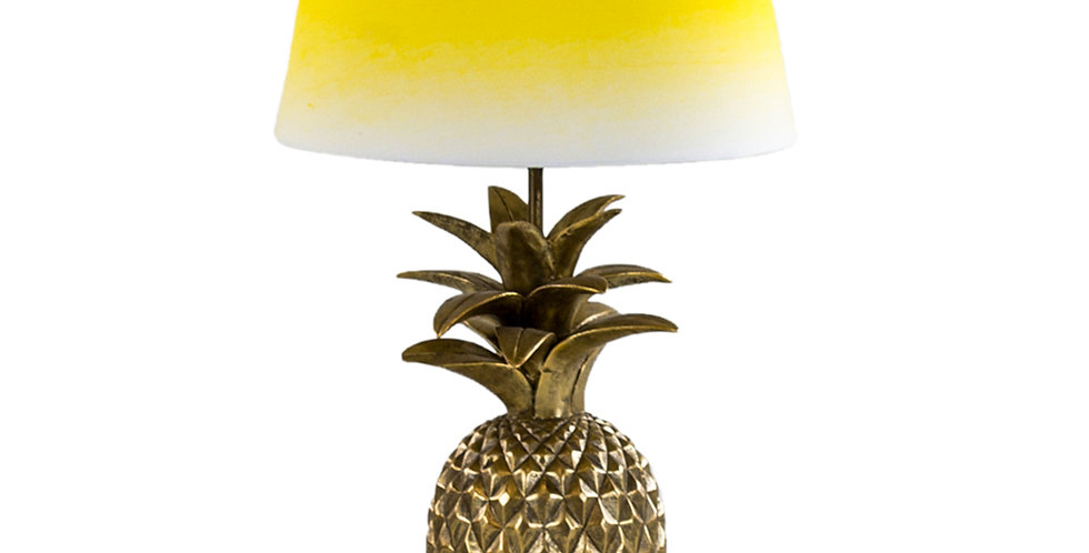 ANTIQUE GOLD PINEAPPLE TABLE LAMP YELLOW & WHITE SHADE