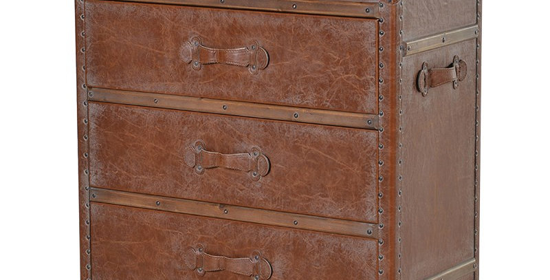 LEATHER THREE DRAWER CHEST