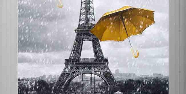 Yellow umbrellas in Paris