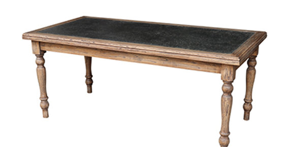 Elm and Zinc top dining table 220cm