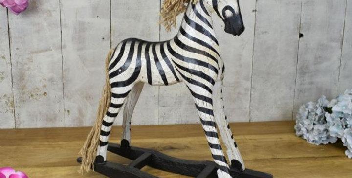 SMALL WOODEN ZEBRA ROCKING HORSE