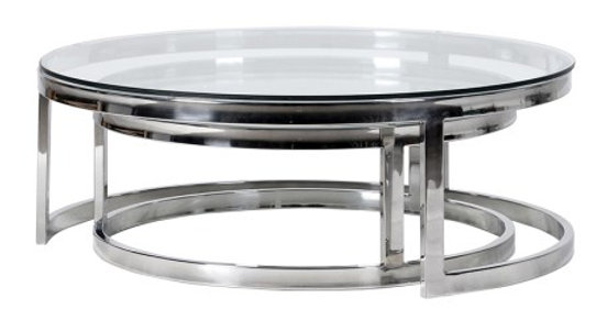 Round Chrome & Glass nesting tables