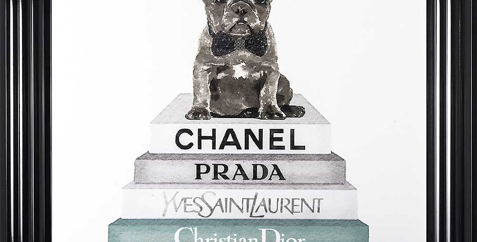 Chanel books and Frenchie teal