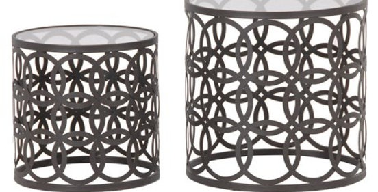 Round Metal & Glass nesting tables