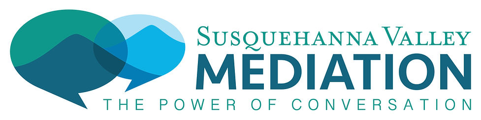 """Text that says """"Susquehanna Valley Mediation: the Power of Conversation"""" with a logo"""