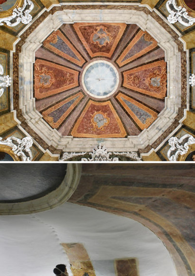 Before (below), during (centre) and after (above) the uncovering and conservation - restoration of the dome paitnings.