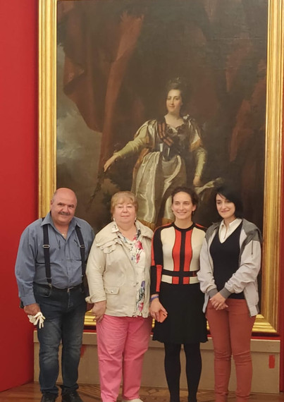 Exhibitions Manager Pierre Bonello, Curator of the exhibition Lyudmila Alekseevna Markina, Coordinator Nina Mochalova and Conservator-Restorer Amy Sciberras who has restored the painting of Catherine the Great (on behalf on Heritage Malta). Photograph taken at the Tsaritsyno Museum-Reserve, in Moscow, following the unpacking and installation of the painting of Catherine the Great – a masterpiece by Dmitri Levitzky, subsequent its journey from Malta to Russia.