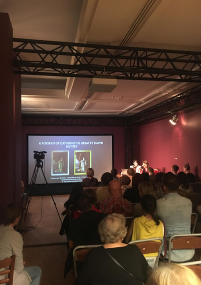 Conservator-restorer Amy Sciberras delivering a lecture at the Tsaritsyno Museum together with exhibitions coordinator and translator Nina Mochalova.